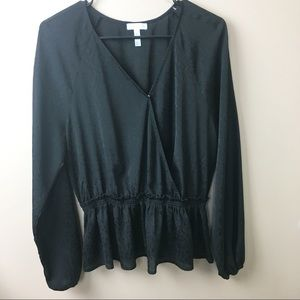 Leith Black Sheer Peplum Blouse